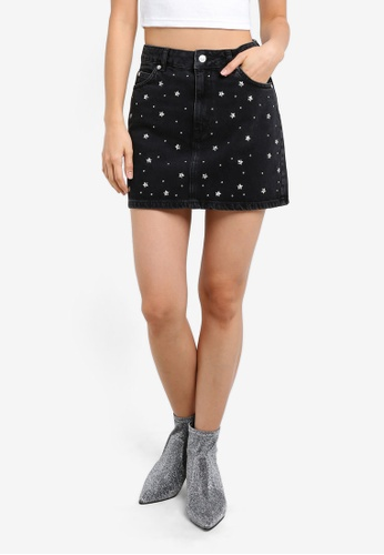 TOPSHOP black Moto Star Stud Denim Skirt TO412AA0SD5XMY_1
