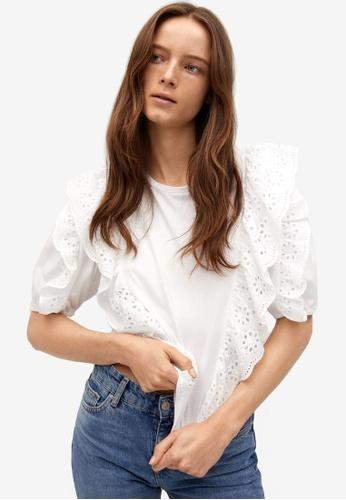 Mango white Openwork Cotton T-Shirt 2D637AA64C162DGS_1