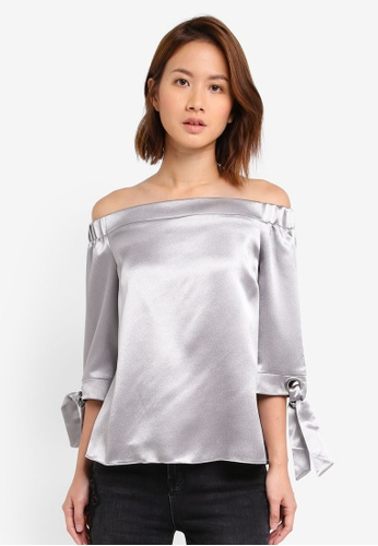 Dorothy Perkins silver Moonshine Bardot Top DO816AA0SSZSMY_1