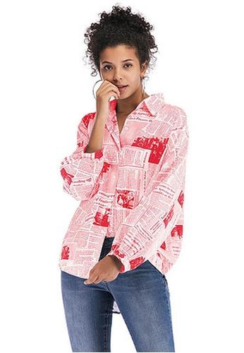 Twenty Eight Shoes red VANSA Print Long Sleeve Shirts  VCW-Sh5889 9DF0AAACD616CDGS_1
