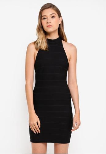 Miss Selfridge black Bandage Halter Bodycon Dress 68F3AAA375760AGS_1