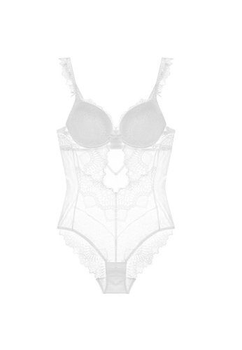 W.Excellence 白色 Premium White Lace Lingerie Set (Bra and Underwear) FAC32US60CA315GS_1