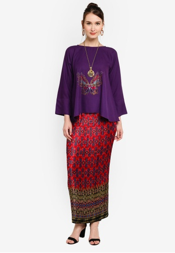 Yans Creation red and purple Kurung Kekupu E722AAAF0E7AD7GS_1