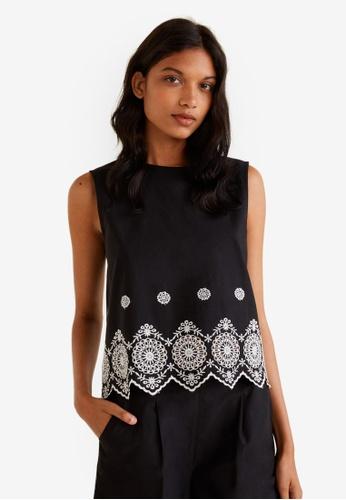 MANGO black Embroidered Cotton Top 5322FAAAA42846GS_1