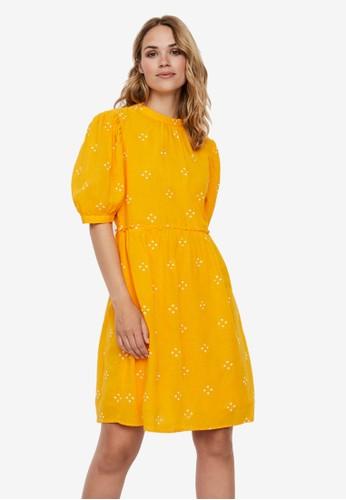 Vero Moda orange and yellow Asta Dress 8E2EFAA7618A66GS_1