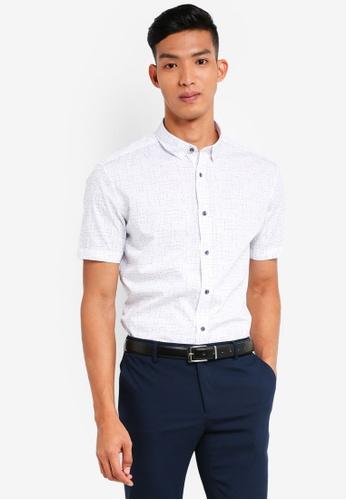 G2000 white Irregular Print Short Sleeve Shirts 43930AA8F2ADE9GS_1