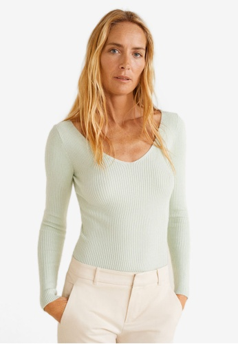 Mango green Ribbed Knit Sweater BBCF1AA5DF306EGS_1