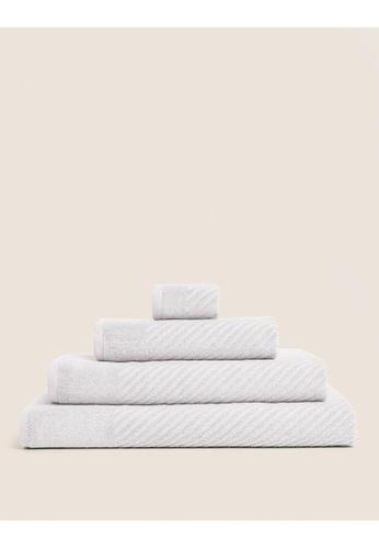 MARKS & SPENCER grey M&S Cotton Rich Plush Quick Dry Bath Towel 59928HL21684FFGS_1