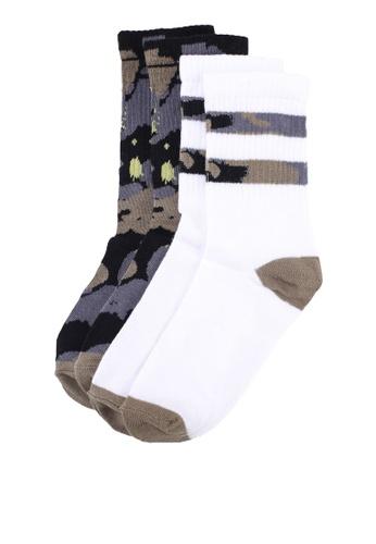 OVS 綠色 迷彩踝襪兩雙入 30AF4AA9757347GS_1