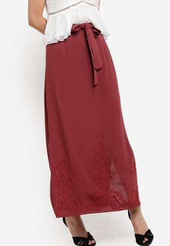 ZALORA brown Embroidered Skirt B5498AADBF872EGS_1