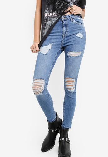 TOPSHOP 藍色 Moto Blue Super Rip Jamie Jeans TO412AA20NFRMY_1