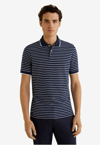 30fb716d MANGO Man navy Striped Cotton Pique Polo Shirt 80136AAED42651GS_1. CLICK TO  ZOOM