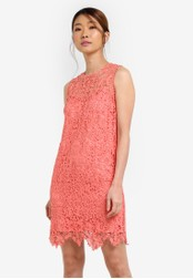 Something Borrowed pink Lace Pieced Sleeveless Shift Dress 03032AAB24806EGS_1