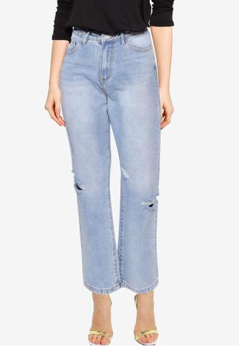 MISSGUIDED blue Lust Side Rip Boyfriend Jeans 55BB7AAFF4D343GS_1