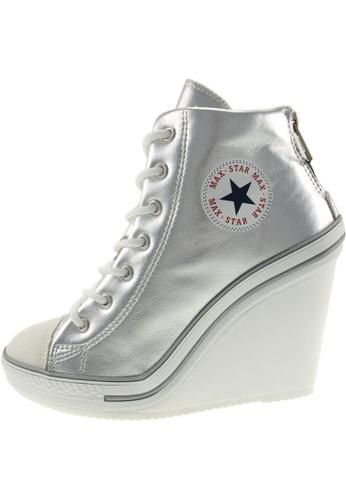 Maxstar 銀色 新款韩国鞋777-BZ-TC時尚皮革布混合女銀色 US Women Size MA345SH73GYCTW_1