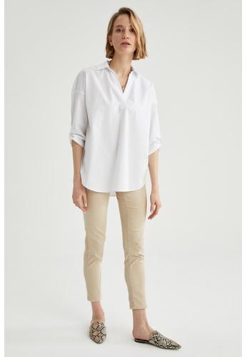 DeFacto white Long Sleeve Cotton Blouse 7BD67AACCF35A3GS_1
