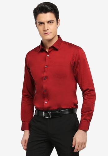 Kent & Crew red Fashion Basic Slim Fit Long Sleeve Shirt 7C264AAE739845GS_1