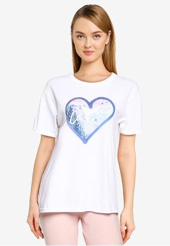 Miss Selfridge white Petite White California Heart Oversized Tee C6807AAB08586BGS_1