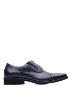 【ZALORA】 MIT。輕量。苯染牛皮。高質感休閒方頭皮鞋-09231-黑色