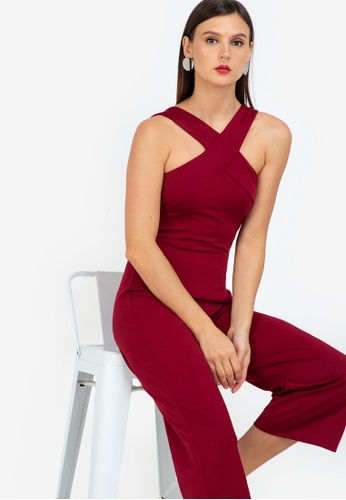 ZALORA WORK red Cross Front Jumpsuit E8A3BAA14BD3AAGS_1