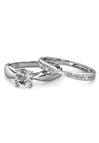 Her Jewellery Prestige Ring (White Gold) - Made with premium grade crystals from Austria 65907ACD64B09DGS_1