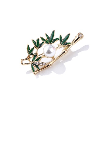 Glamorousky white Elegant and Simple Plated Gold Enamel Bamboo Imitation Pearl Brooch with Cubic Zirconia 98765ACBF6317CGS_1