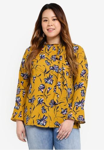 Ex'otico yellow Plus Size Long Sleeve High Neck Blouse 6E28AAA1830E9FGS_1