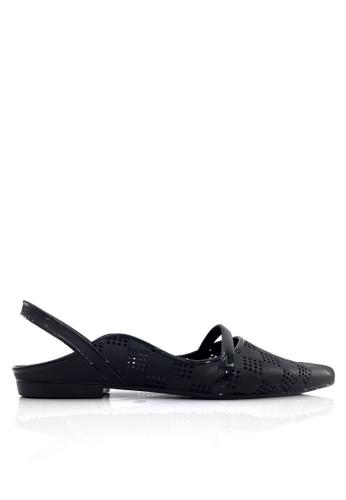 Twenty Eight Shoes 黑色 尖頭後抽帶果凍膠雨鞋 VR180A 85423SH4690672GS_1