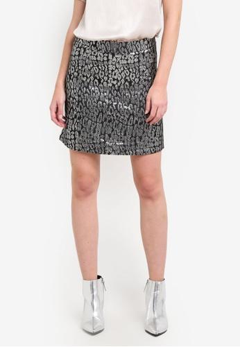 Dorothy Perkins silver Metallic Animal Jacquard Skirt DO816AA0S2JRMY_1