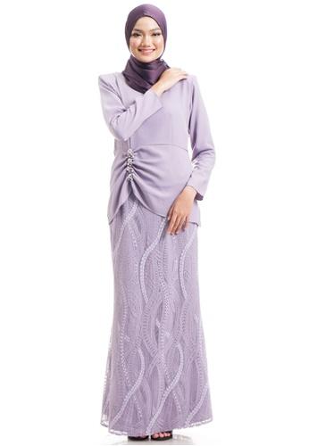 Ashura purple Fiorella Kurung With Ruched C5365AA2BBDE0CGS_1
