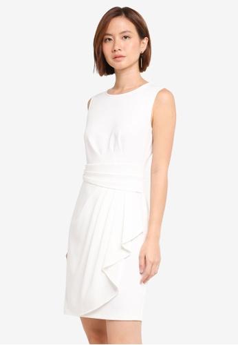 ZALORA white Pleated Draped Dress 3BCBBAA7112DBFGS_1