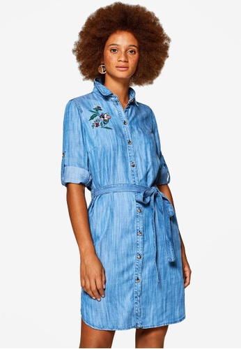 ESPRIT blue Denim-effect Lyocell Dress With Floral Embroidery 0A83BAAFE91E70GS_1