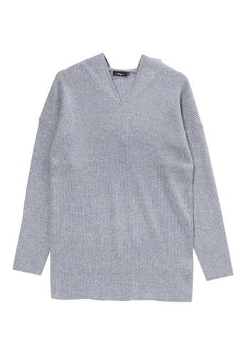 KLAPS grey Ribbed Knit Hoodie D7EC1AAF980195GS_1