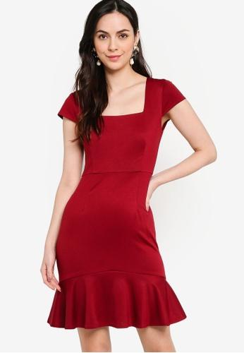 ZALORA WORK red Square Neck Ruffle Hem Dress 05819AA86D1C40GS_1