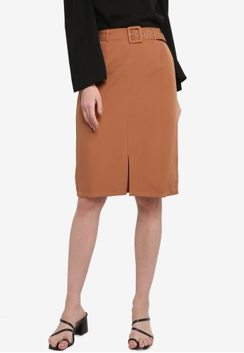 ZALORA WORK brown Self Fabric Buckle Skirt 9535EAA0B2A79CGS_1
