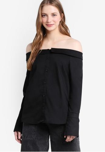New Look black Black Bardot Neck Shirt NE182AA85PRMMY_1