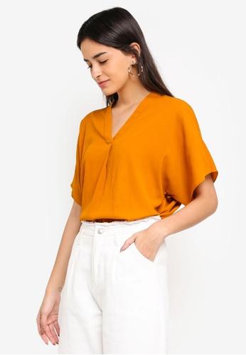 Vero Moda orange Amy 2/4 V-neck Top FC7E8AA2392F77GS_1