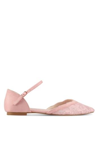 Velvet pink Lace Ballet Flats 79740SHA22F5BAGS_1