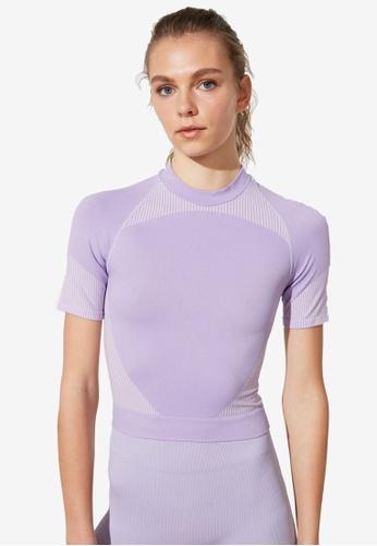 Trendyol purple Seamless Short Sleeve Sports Top 04B85AA47B298CGS_1