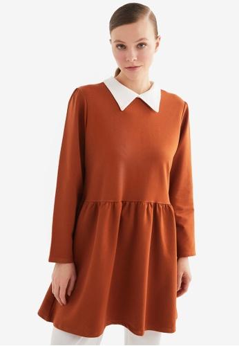 Trendyol 紅色 Shirt Collar Tunic 63D97AAE5C55D6GS_1