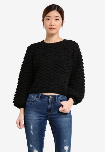 ONLY black ONLY ONE Poplina Long Sleeve Pullover Knit ON573AA0T0D6MY_1