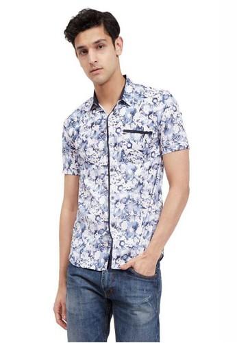 Hamlin navy Hamlin Dwan Shirt Baju Kemeja Atasan Pria Lengan Pendek Size M ORIGINAL 2FA0EAA4095175GS_1