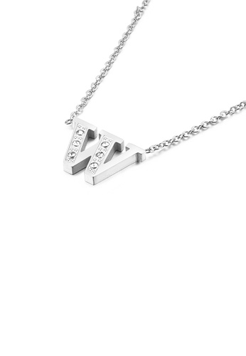 Glamorousky white Fashion Personality English Alphabet W 316L Stainless Steel Pendant with Cubic Zirconia and Necklace A0B6EACFCC36C3GS_1