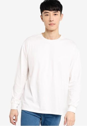 ZALORA BASICS white Drop Shoulder Long Sleeve T-Shirt 43867AA45DB599GS_1
