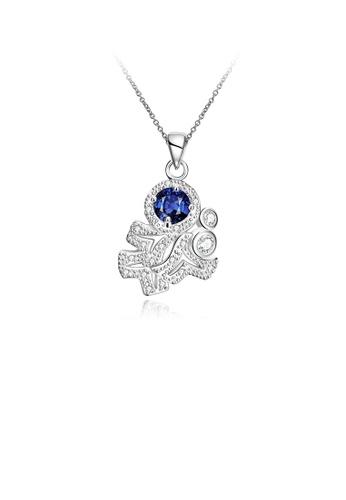 Glamorousky blue Fashion Elegant Geometric Pendant with Blue Cubic Zircon and Necklace F6385AC9563634GS_1