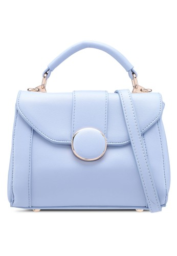 Bagstationz blue Faux Leather Covertible Top Handle Bag F1DC0ACCA2037AGS_1
