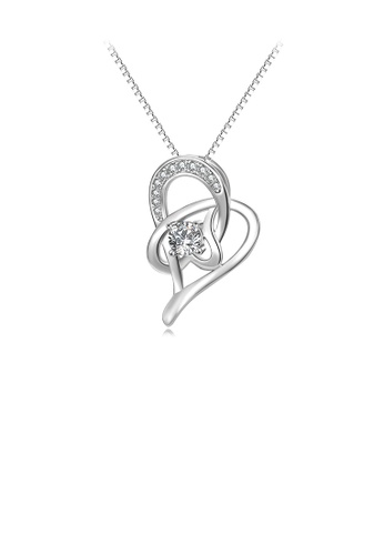 Glamorousky white 925 Sterling Silver Fashion Simple Heart Pendant with Cubic Zirconia and Necklace 73091AC776BAC3GS_1