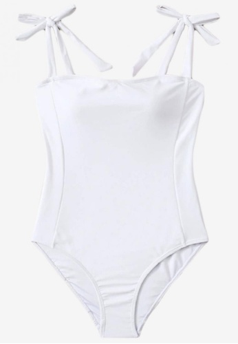 Bluepalm white Sibay in White Knot Shoulder One-Piece Swimsuit 795E1USAF2163AGS_1