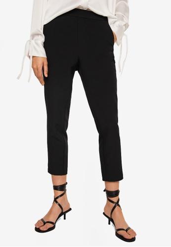 Mango black Contrasting Panels Trousers EC100AA74323C6GS_1