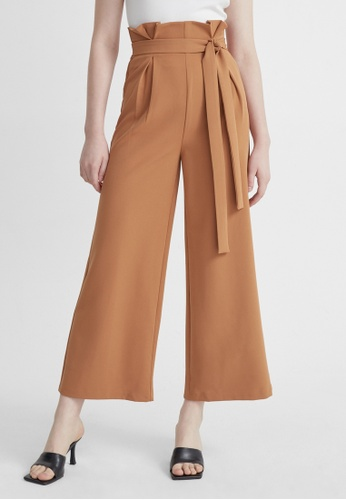 Pomelo brown Semi Pleat Paperbag Pants - Brown D3958AA246B81BGS_1